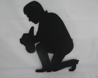 Praying Cowboy Metal Wall Art Western Silhouette
