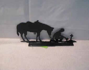 Cowboy Praying Mailbox Topper Metal Yard Art Silhouette