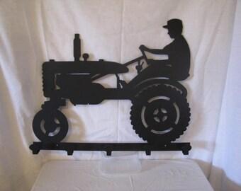 Farmer on Tractor Coat Rack Metal Wall Art Silhouette