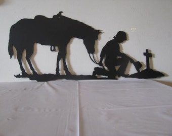 Praying Cowboy and Horse Metal Silhouette Wall Yard Art