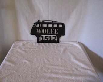 VW Van or Bug with Surfboard Mailbox Topper Metal Wall Yard Art Silhouette