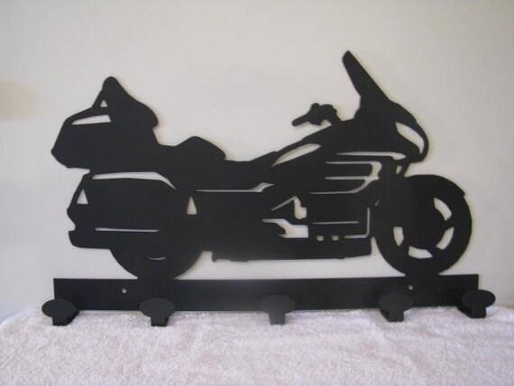 Motorcycle 006 Coat Rack 5 Hooks Metal Wall Art Silhouette