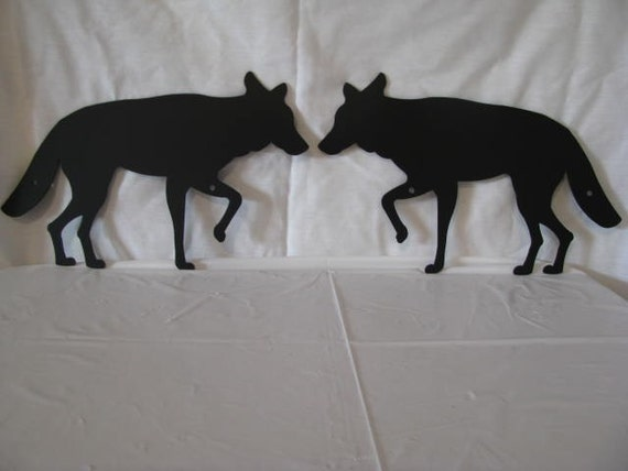 Coyote Metal Wall Yard Art Wildlife Silhouette Set of (2)
