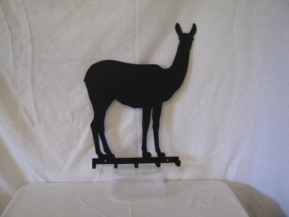 Llama 002 Key Holder 5 Hook Metal Farm Wall Art Silhouette