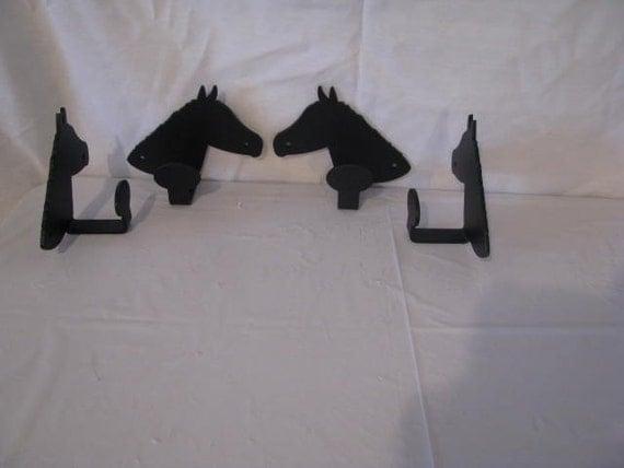 Horse Head Coat Hook Metal Western Wall Art Silhouette Set (4)