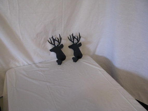 Deer Head Coat Rack set of 2 Metal Wall Art Wildlife Silhouette
