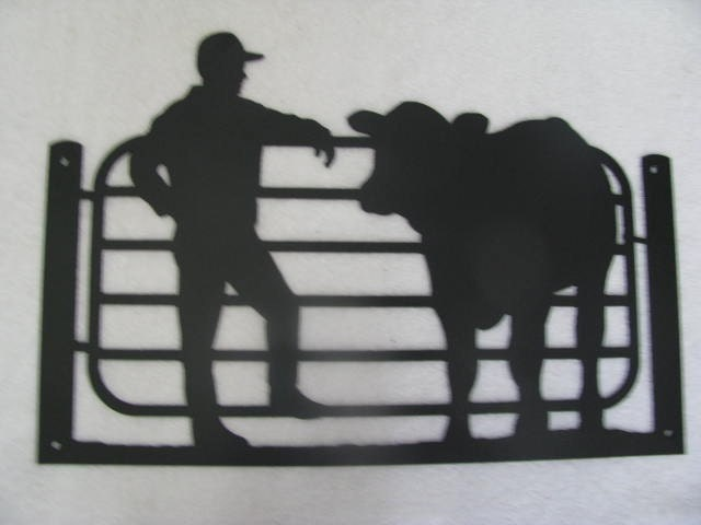 Farmer And His Cow Metal Wall Art Silhouette By Cabinhollow
