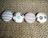 Stripy Bugs - Set of 4 Fabric Covered Buttons