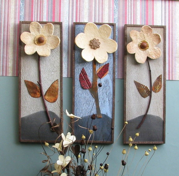 Mountain Mommas - 3 handcrafted gourd flowers