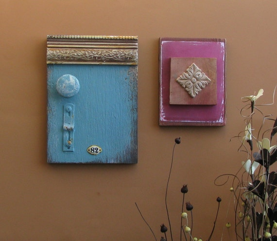Reserved for Gemma - home decor - wall collage - Eighty-two - wood blocks - mixed media- Feng-shui