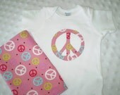 Girls Burp Cloth and Onesie Peace Sign 2 pc Set