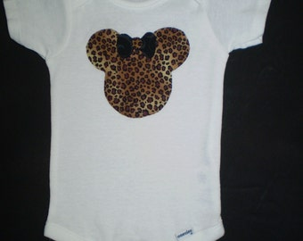 Cheetah Print Minnie Mouse Onesie