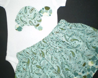 Paisley Turtle Onesie and Skirt Outfit