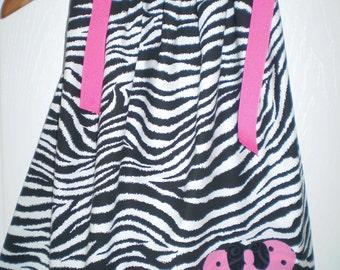 Girls Pillowcase Dress Zebra Minnie Mouse Appliqued  Dress