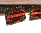 Tin Tobacco Tag Cufflinks - Cigars - Antique Brass and Gold Plate Cuff Links - Hard Empherema