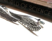 Long Wing Cufflinks - Steampunk Angel Wings - Antiqued Silver / Silver Ox Cuff Links - Soldered