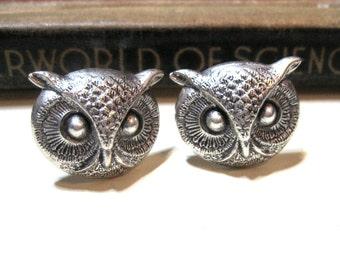 Antiqued Silver Owl Head Cuff Links - Bird - Avian - nocturnal - hoot - Soldered