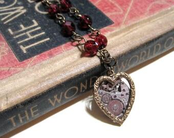 Vintage Watch Movement Heart Necklace - Mechanical Heart - Antiqued Brass
