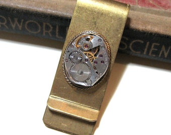Vintage Solid Brass Money Clip - Vintage Watch Movement with real Rubies - 17 Jewel - Steampunk