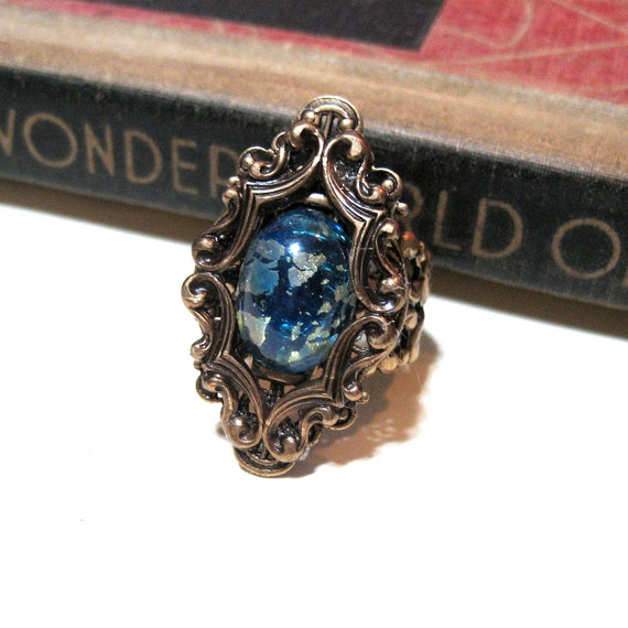 Blue and Green Harlequin Opal Ring in Antique Brass - Adjustable - Cocktail Ring - fire opal - Victorian - Antiqued Brass - Filigree