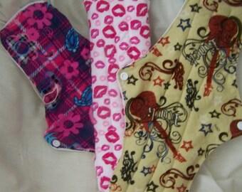 13 1/2 inch heavy/overnight mama pads set of three,custom made