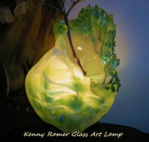Hand Blown Frosted Green Swirled Conch Lamp- Reserved for Bonnie