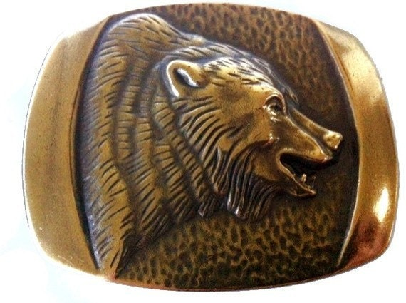 Vintage Bronze Bear Belt Buckle Large Western Grizzly Men's Country