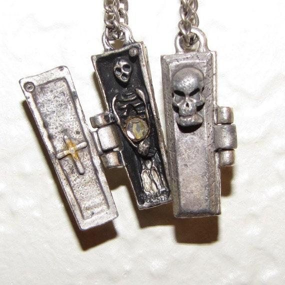 Spooky Halloween Skeleton in a Coffin Dangle Earrings