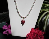 Murano Red Heart Necklace