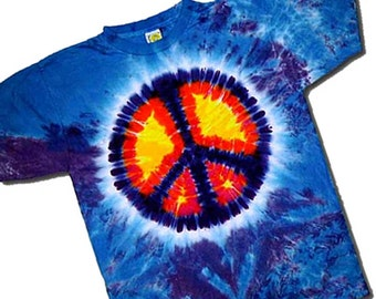 Kids TieDyed Peace Sign Tee -Your Choice Youth S, M or L Tie Dye Peace T-shirt  100 percent Cotton Teeshirt