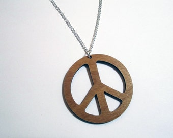 PEACE SIGN PENDANT Large Peace Necklace Laser Cut Wooden on 24 inch Silver Plated Chain - 2.25 inch Wooden Peace Necklace