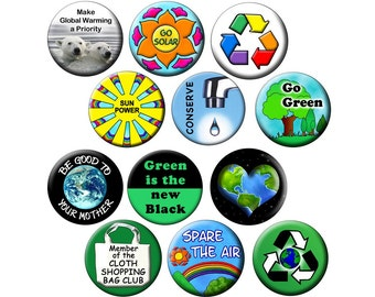 "12 Climate Change Buttons - RECYCLERS PACK - I Dozen Global Warming - 1.25"" Pin-Back Ecology Buttons"
