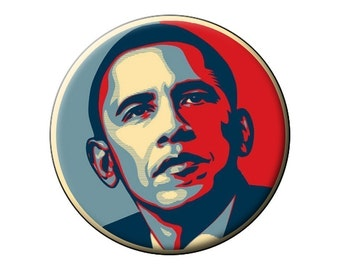 "OBAMA-HOPE Pin or Magnet- President Barack Obama Portrait - 2.25"" Round Flat-Backed Fridge Magnet or 2.25"" Pinback Button or Badge"