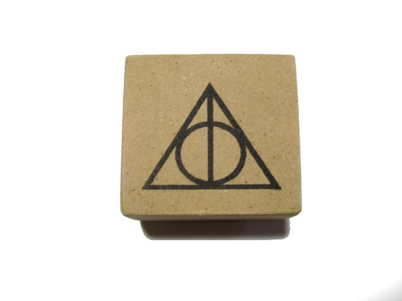 Harry Potter Stamp Deathly Hallows Symbol on 1.5 inch Wood Mounted Hand Carved Rubber Stamp