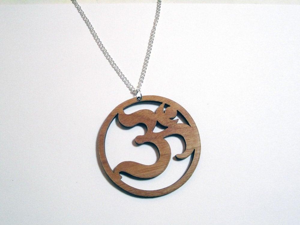 ohm symbol pendant lg laser cut wood 2 25 om