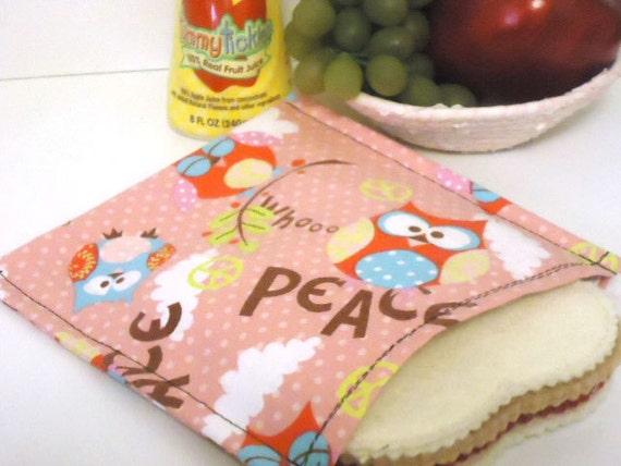 Eco Friendly Reusable Sandwich Bag - Peace Owls -