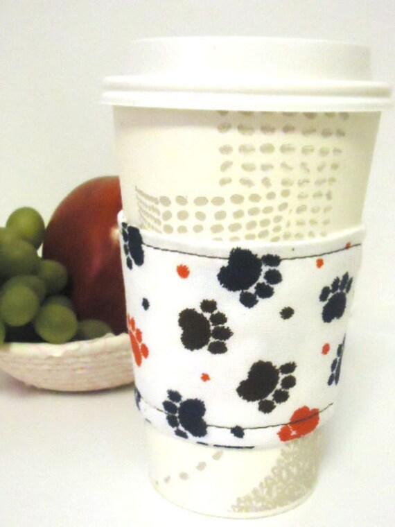 Reusable Coffee Cozy - Paw Prints -