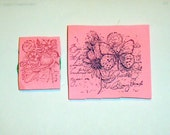 Set of Two Spring Collage foam mounted Used Rubber Stamps