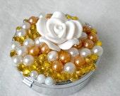 Pill Case Pearl Flower Rhinestone Kawaii