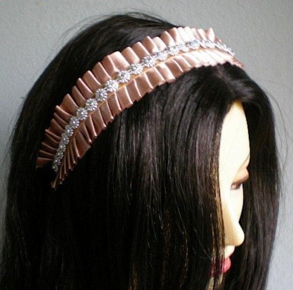 Champagne Satin French Maid Ruffle Headband Ruffled Satin Housemaid