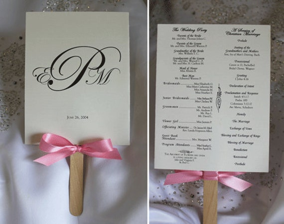 diy wedding program fans items similar to custom content design only