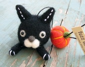 Halloween FUZZ heads - black cat with a pumpkin