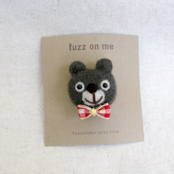 Felted animal head pin brooch :  FUZZ bear with bow tie