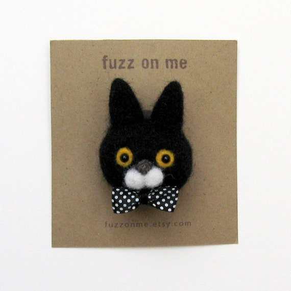 Felted animal brooch :  FUZZ black cat head - yellow eyes with dots bow tie
