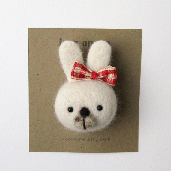 Felt animal brooch - FUZZ white bunny head with red and cream plaid ribbon