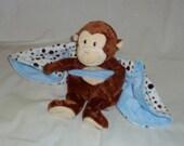 Monkey Animal Blanket Lovie - Blue
