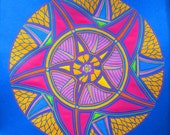 Blue and orange flamed mandala flowerwheel