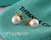 Vintage Estate TIFFANY & CO. Pearl Stud Earrings. Genuine Cultured. 18Kt Yellow Gold. Beautiful Luster