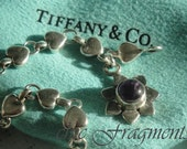 Vintage Estate TIFFANY & CO. Chain Of Hearts Bracelet. With An Amethyst Flower Charm. Sterling Silver