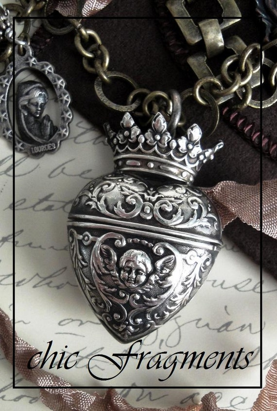RESERVED For D.R. - ANGEL Crown Heart Locket Necklace. Vintage Repousse Sterling Silver. French Lourdes Medal. Layaway No.1